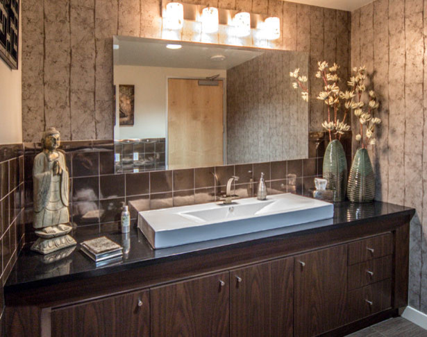 Luxury bathroom in jeanine 39 s corporate office for Houzz corporate office