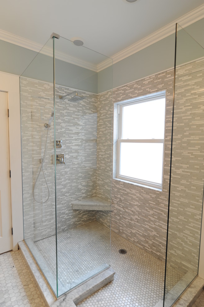 Beach style multicolored tile and glass tile doorless shower photo in Chicago with an undermount sink, shaker cabinets and quartzite countertops