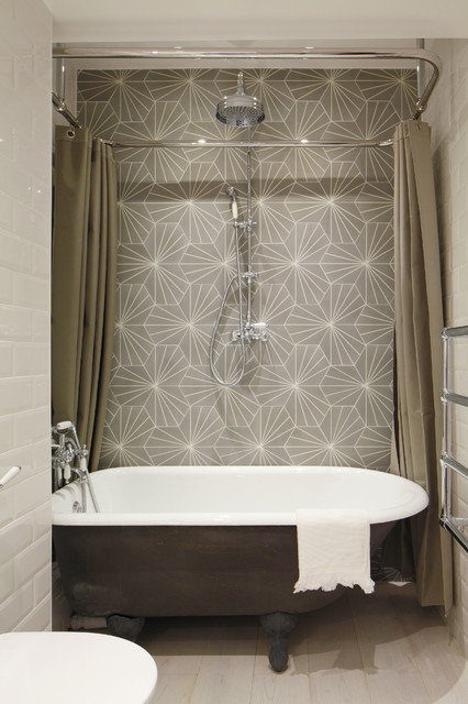 Freestanding Tub And Shower Combo. Industrial Bathroom by Oliver Burns Ideas  Shower Curtain or Doors