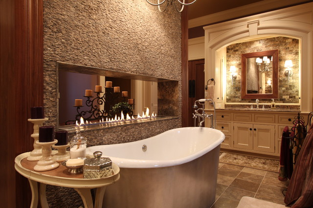 Luxury Master Bath With Freestanding Tub And Fireplace