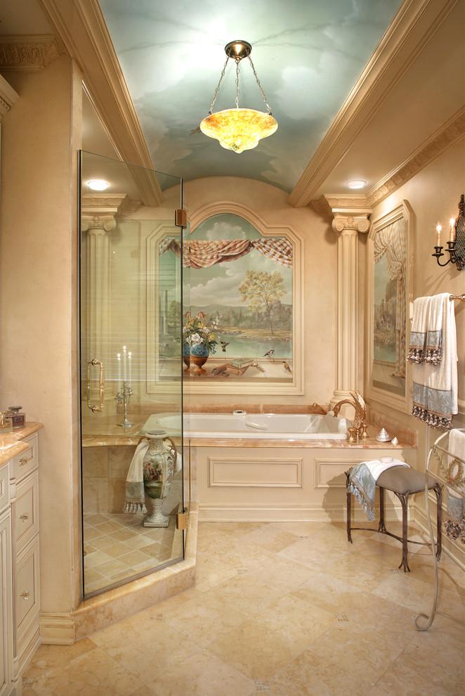 Inspiration for a mediterranean beige tile bathroom remodel in New York