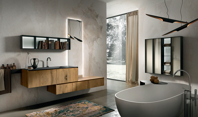 Inspiration for a large modern master concrete floor freestanding bathtub remodel in New York with a & Luxury Modern Italian Bathroom Vanities