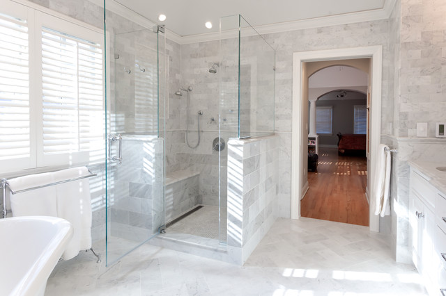 Shower With Body Sprays And Frameless Glass Marble Master Bath