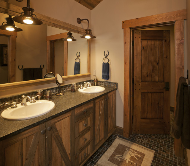 Lynne barton bier home on the range interiors rustic for Bathroom designs rustic