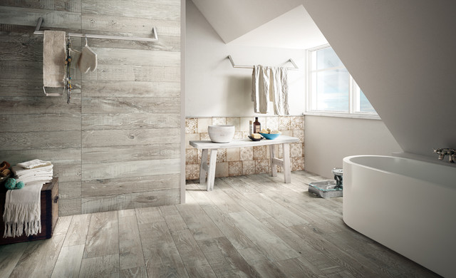 Maderia Porcelain Wood Tiles Iris Ceramica UK Suppliers Rustic Bathroom