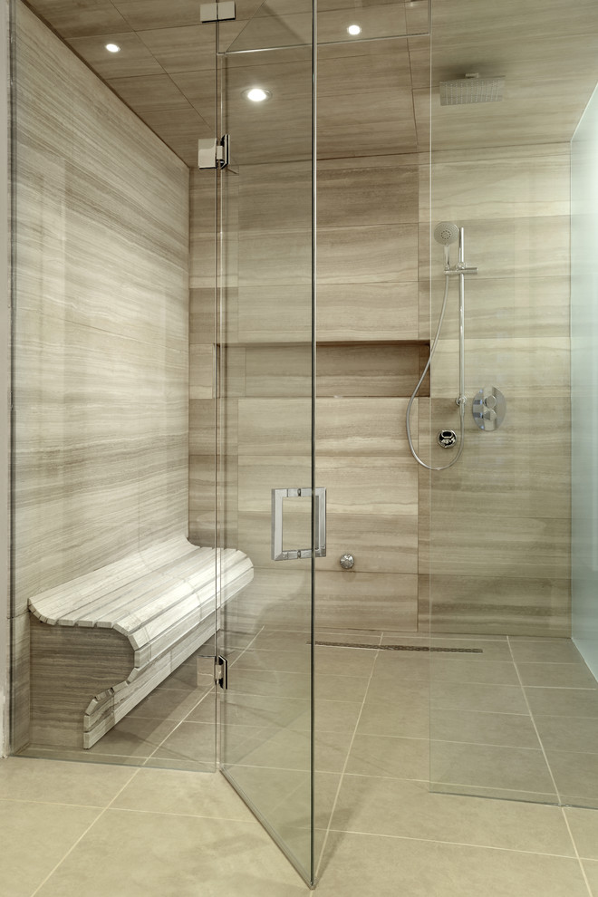 Example of a large trendy master beige tile and porcelain tile travertine floor walk-in shower design in Toronto with a one-piece toilet and beige walls