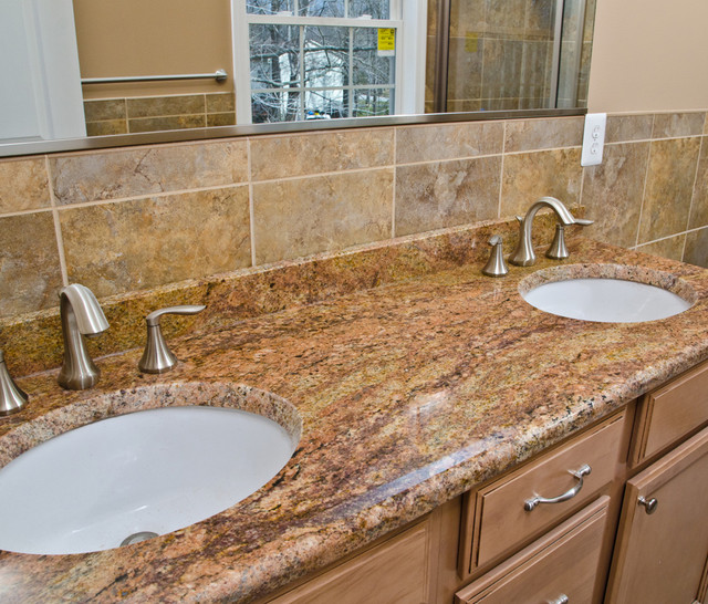 Madura Gold Granite Double Bathroom Vanity Traditional