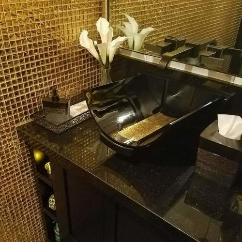 gold-black bathroom