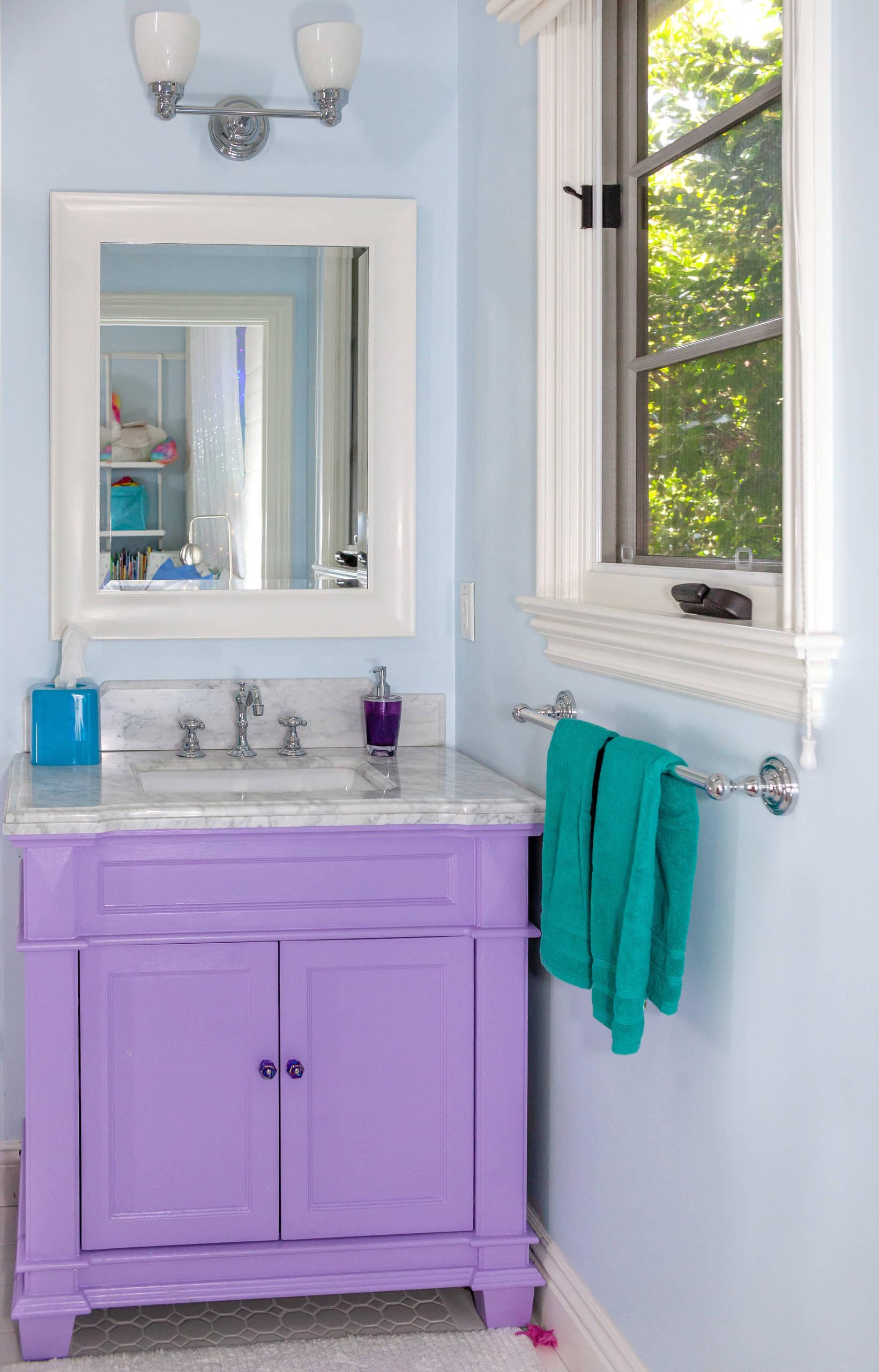 Purple Bathroom With Gray Countertops