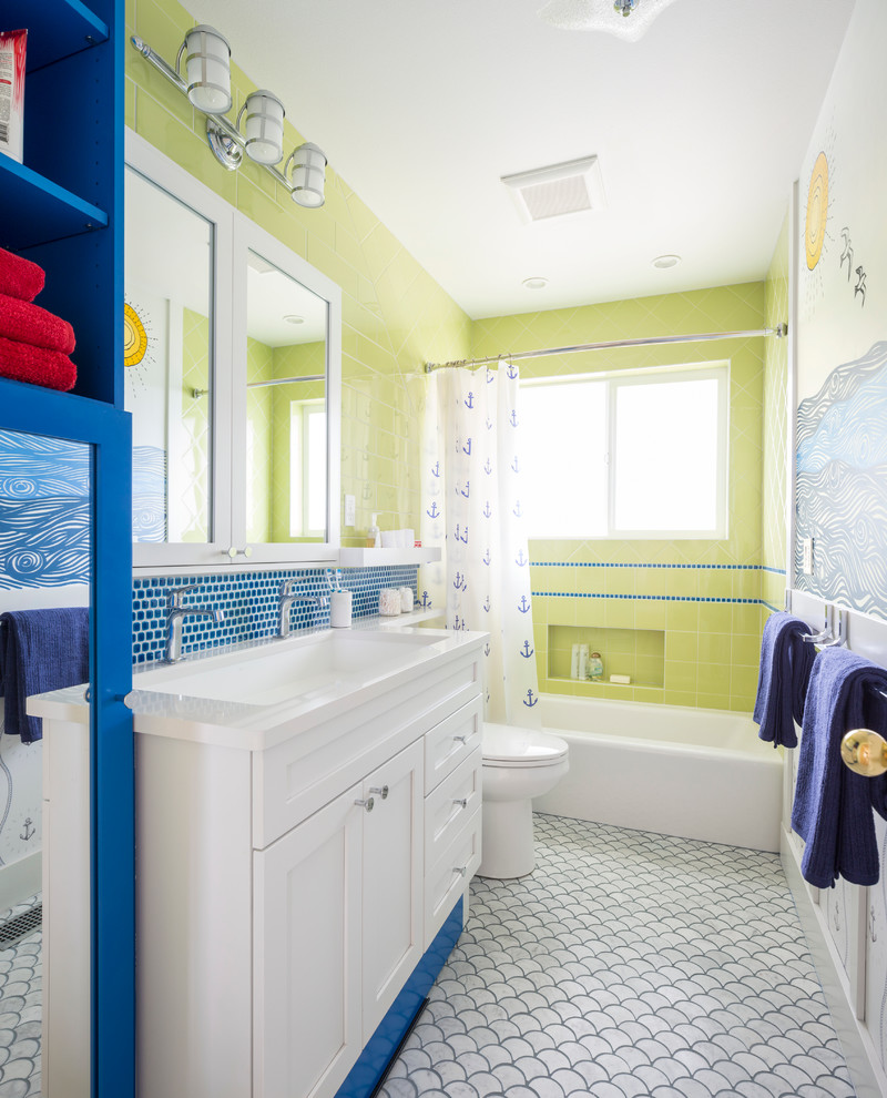Mid-sized beach style kids' blue tile and green tile marble floor bathroom photo in Seattle with white cabinets, quartzite countertops, shaker cabinets, multicolored walls and an undermount sink