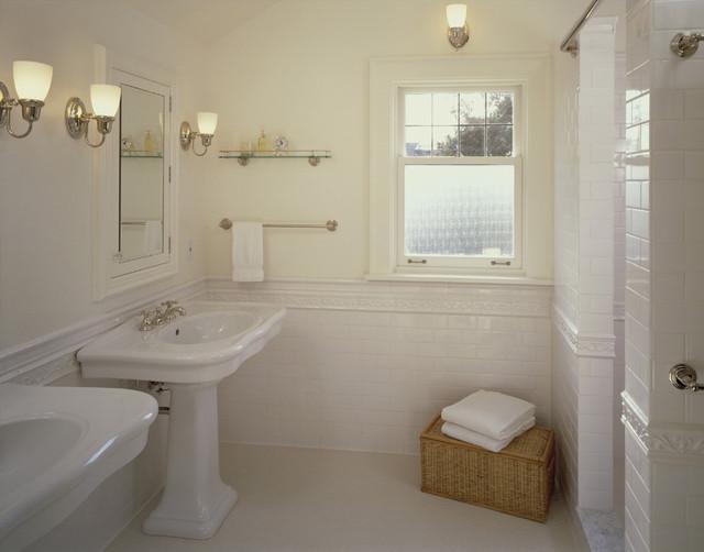 wainscoting ideas for bathrooms pictures - Magnolia tudor master bath Traditional Bathroom