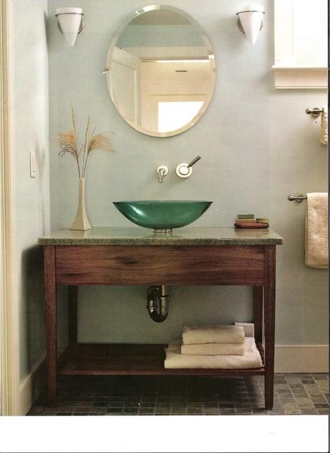 Mahogany Vanity With Green Vessel Sink Modern Bathroom