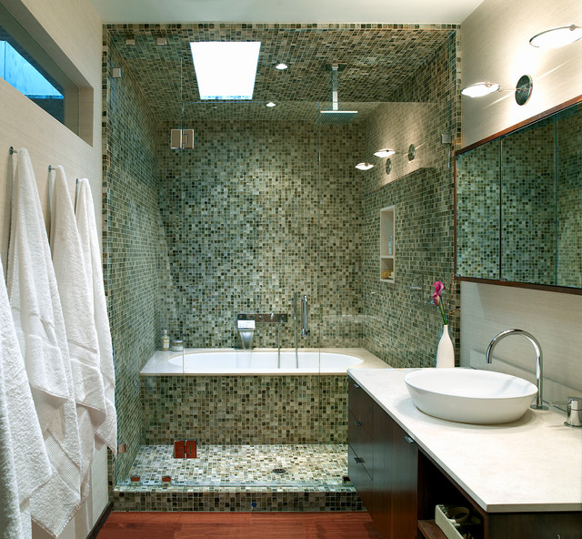 Inspiration For A Contemporary Mosaic Tile Bathroom Remodel In Los Angeles  With A Vessel Sink