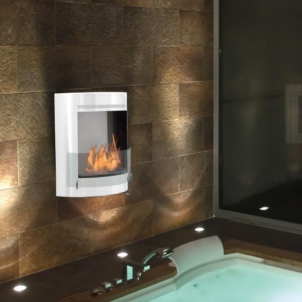 malibu white wall mounted ethanol fireplace bathroom