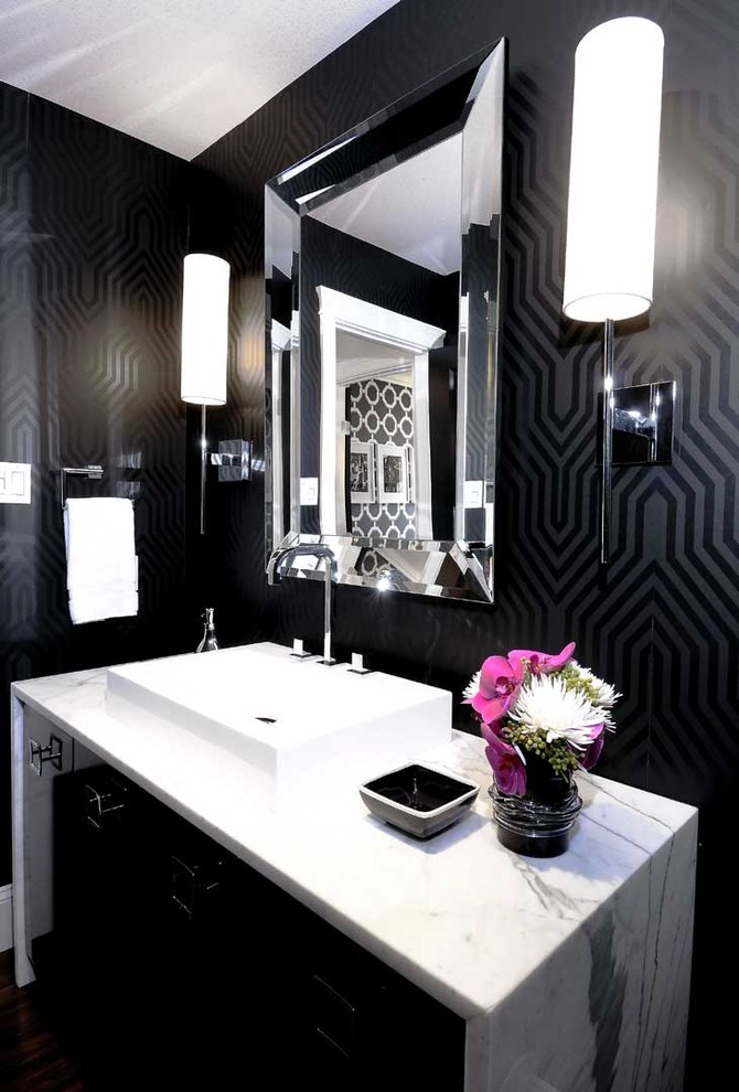 Bathroom - contemporary bathroom idea in Other with a vessel sink and black walls