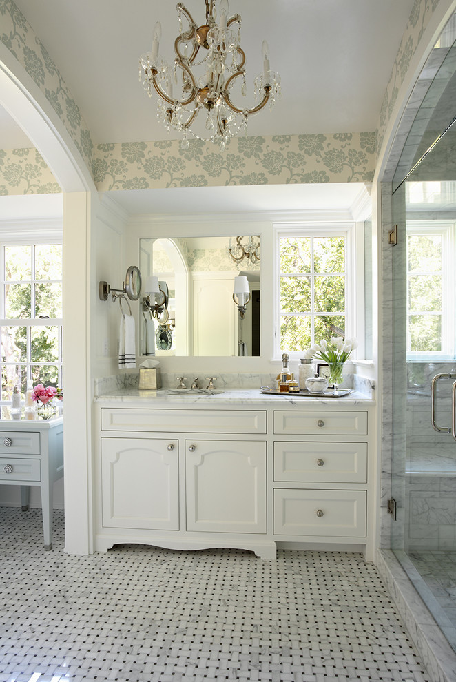 Inspiration for a large timeless master mosaic tile marble floor bathroom remodel in Minneapolis with shaker cabinets, white cabinets, white walls, an undermount sink and marble countertops