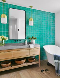 Bathroom With Light Hardwood Floors