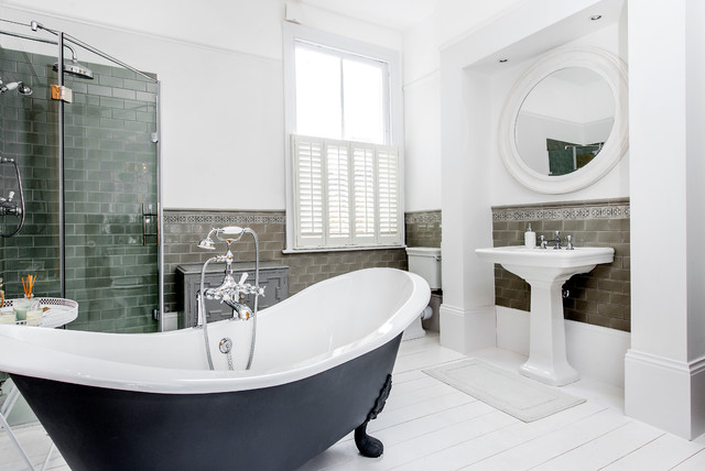 Bathroom - transitional master gray tile painted wood floor bathroom idea in London with white walls and a pedestal sink