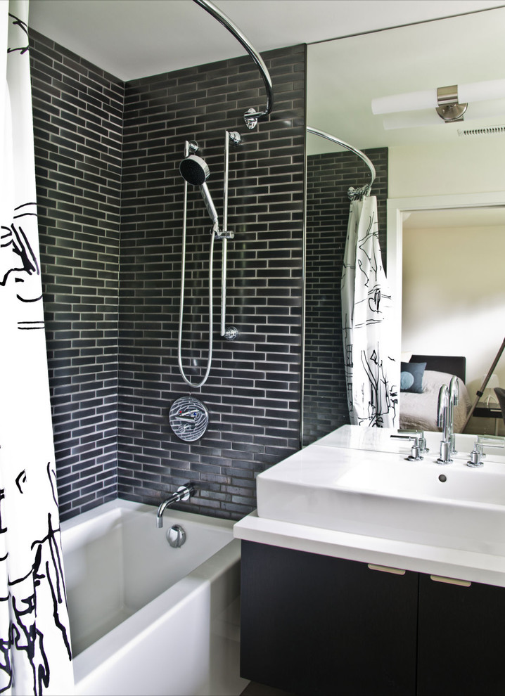 Bathroom - modern subway tile bathroom idea in Vancouver