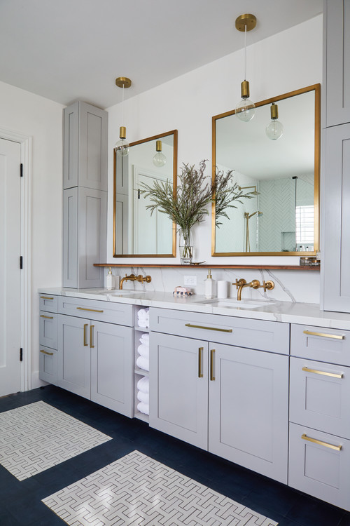 Contemporary Bathroom Vanity in Custom Home in Rochester NY