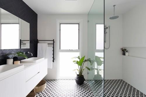 Black pebble tile floor bathroom | Bathroom design ...