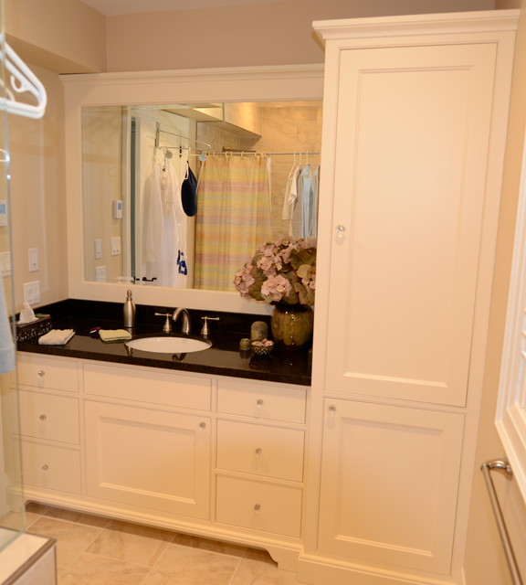 Maple vanity with linen tower for Cabinets and vanities