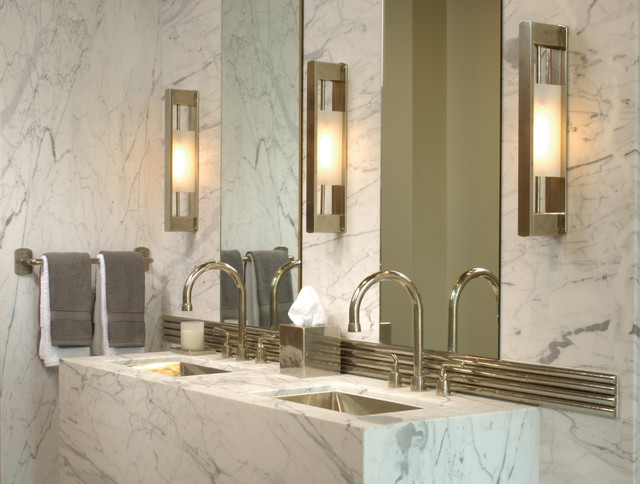 Marble and bronze bathroom modern-bathroom