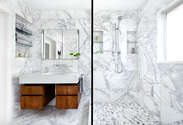contemporary bathroom by cgs design build - White Marble Tile Bathroom
