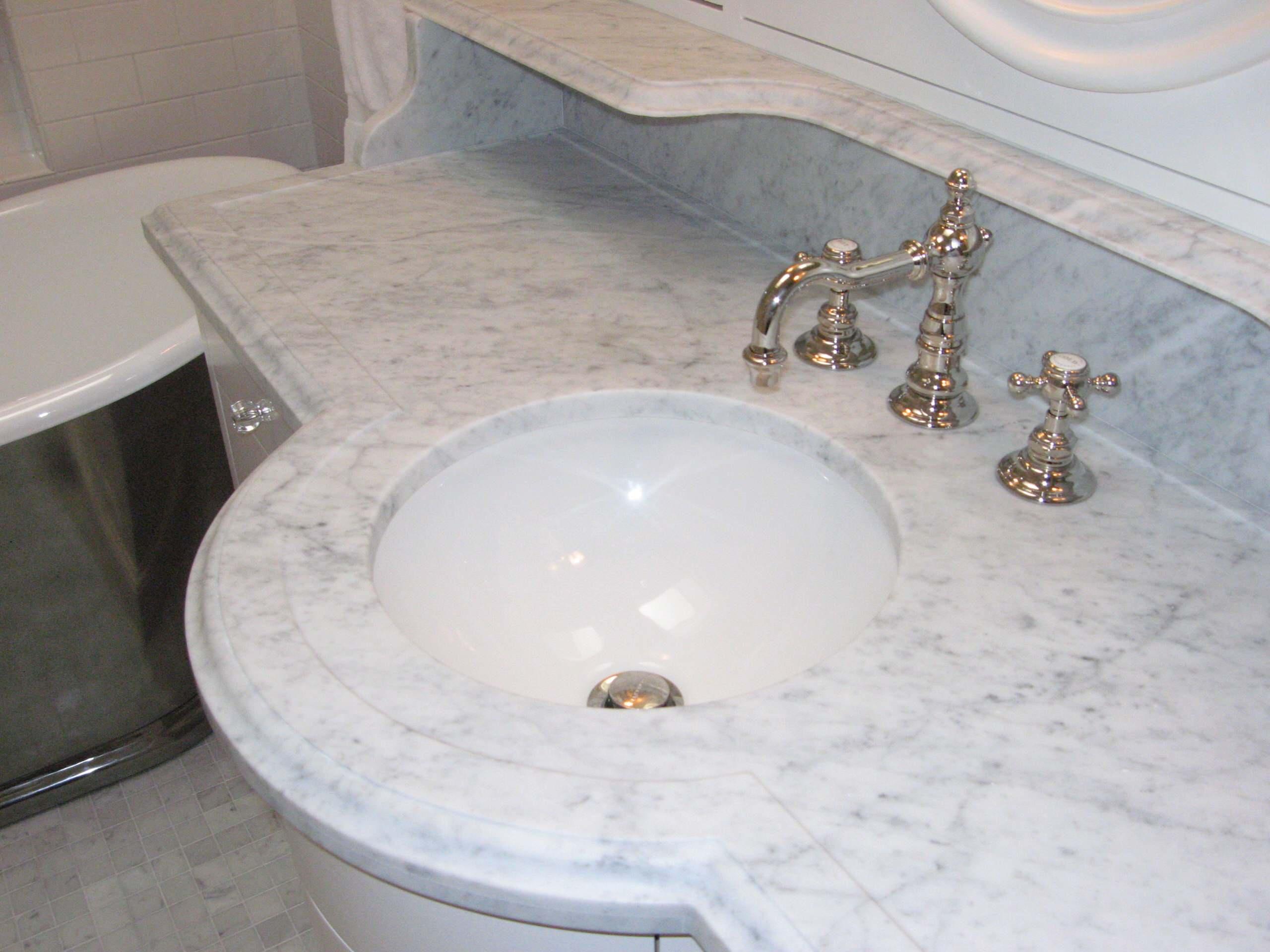 Marble bathroom built-in sink