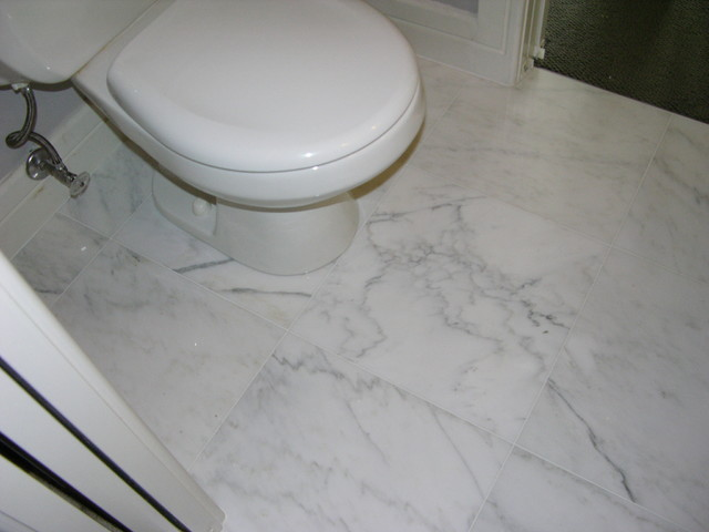 Marble bathroom floor bathroom toronto by caledon for Carrara marble bathroom floor designs