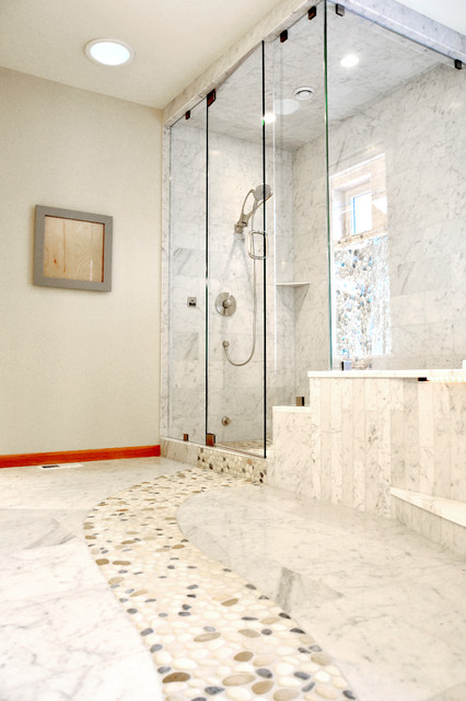 Marble Bathroom Floor With River Rock Contemporary