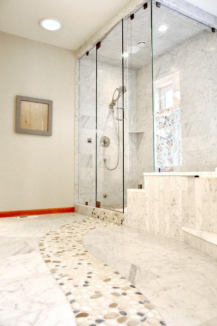 Ordinaire Marble Bathroom Floor With River RockContemporary Bathroom, Seattle