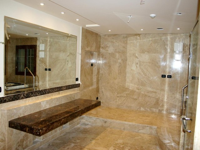 Marble Cappuccino Polished Walls And Floors Modern Bathroom