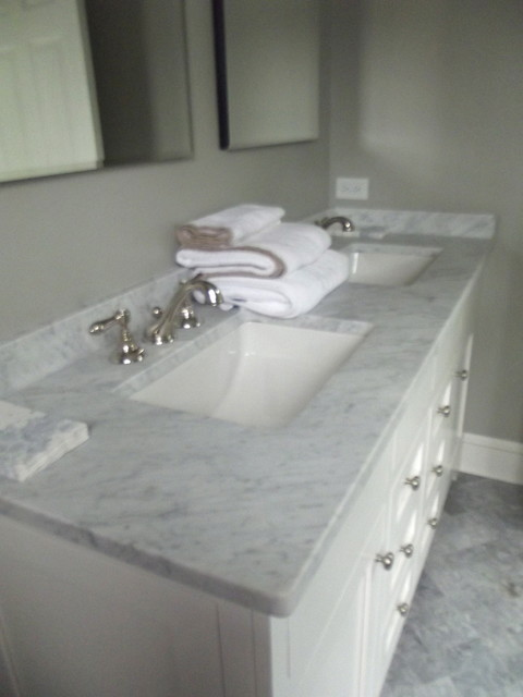 Marble Counter Top Traditional Bathroom New York