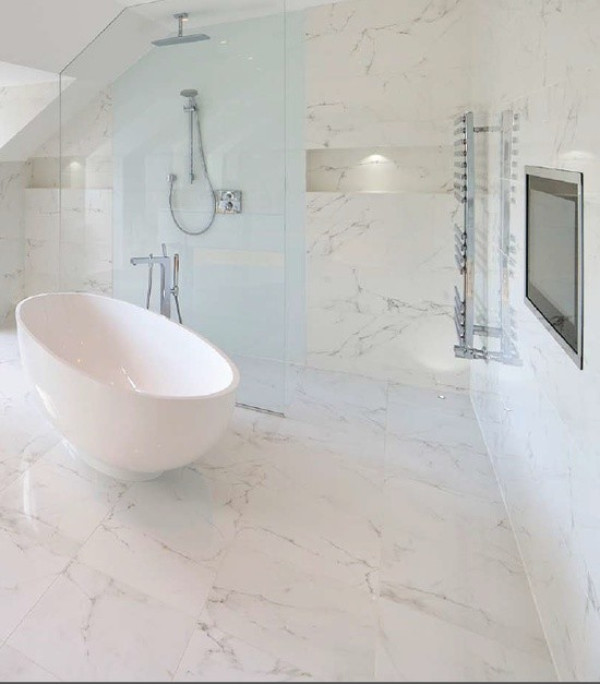 Marble Effect Porcelain Contemporary Bathroom