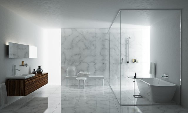 Lovely Marble Floor Modern Bathroom Pictures