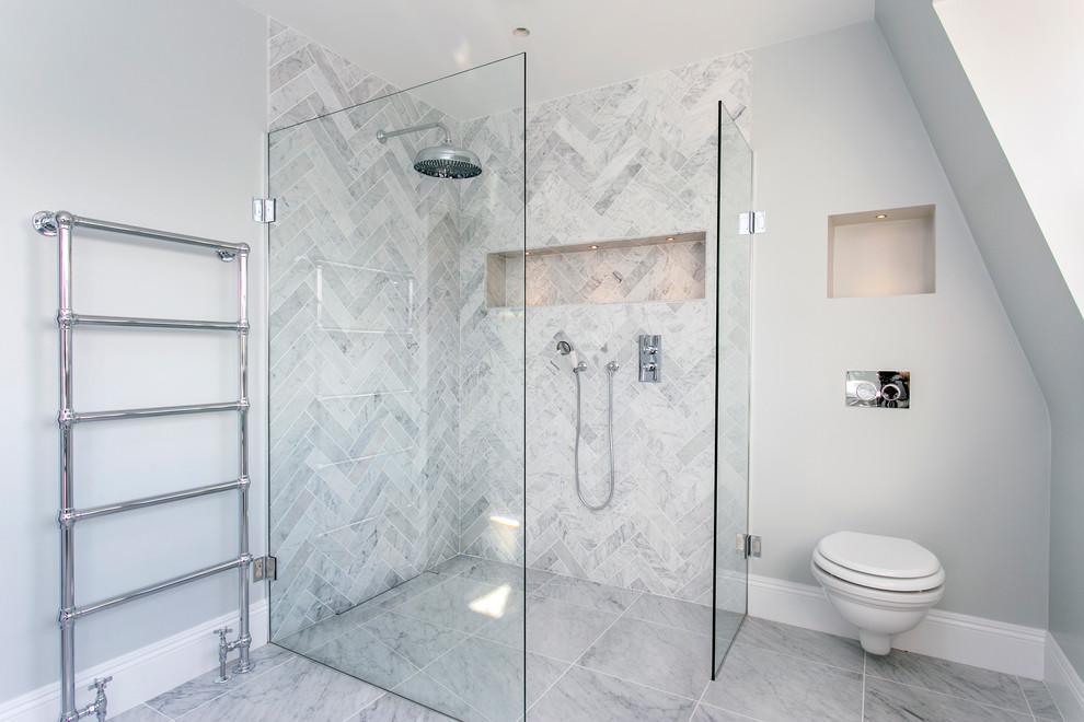 Marble Herringbone Tiles Contemporary