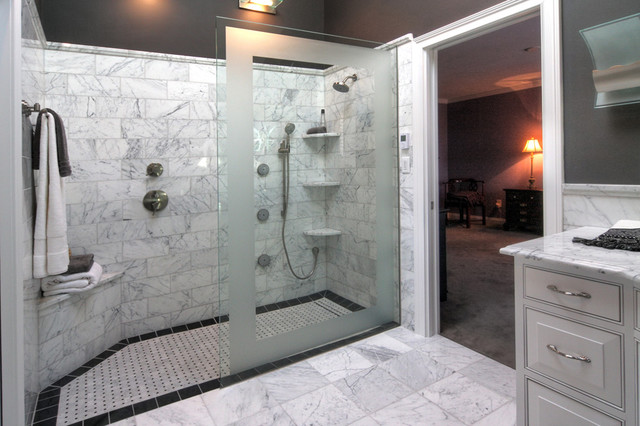 Bath Marble marble master bath - traditional - bathroom - st louis -mosby