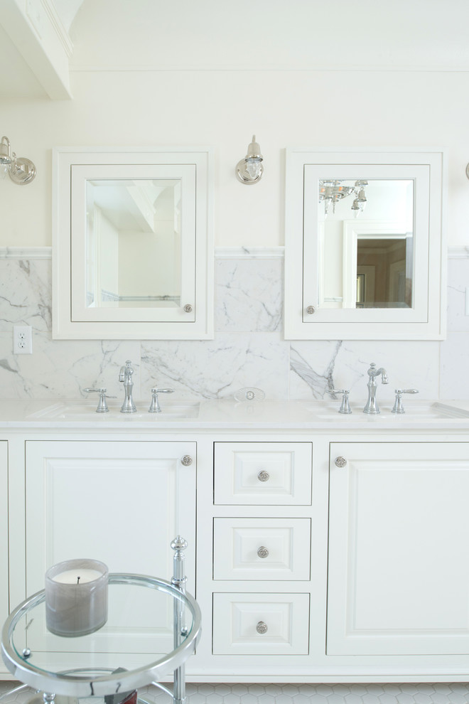 Example of a mid-sized classic master white tile and porcelain tile porcelain tile bathroom design in Kansas City with furniture-like cabinets, white cabinets, marble countertops and white walls