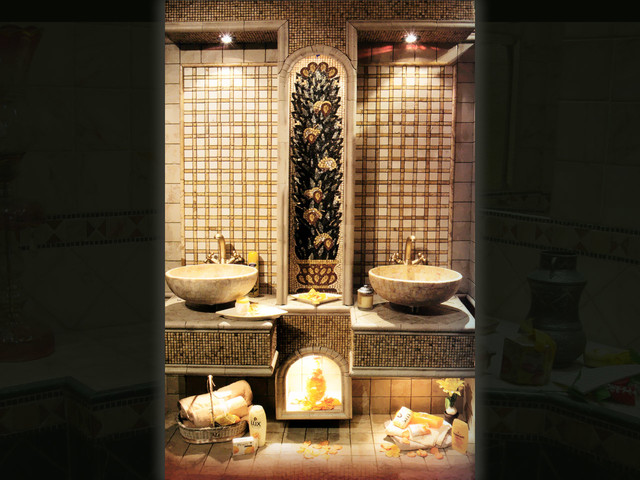 Marble mosaic and Glass mosaic washrooms contemporary-bathroom