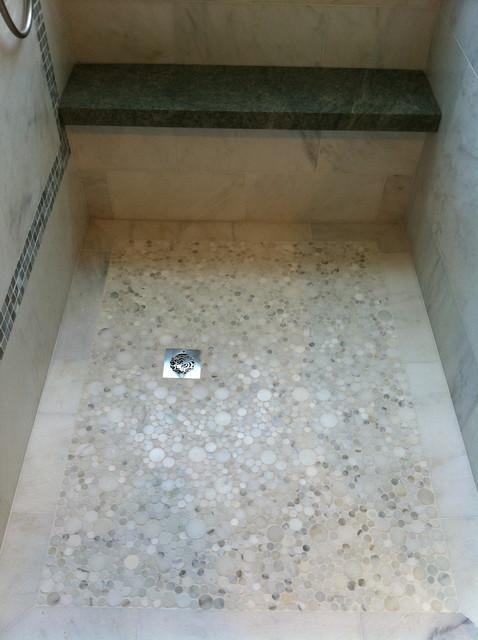 Marble shower floor contemporary bathroom los for Bathroom marble floor designs