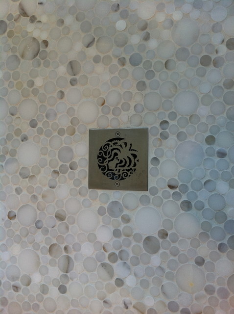 Marble Shower Floor contemporary bathroom