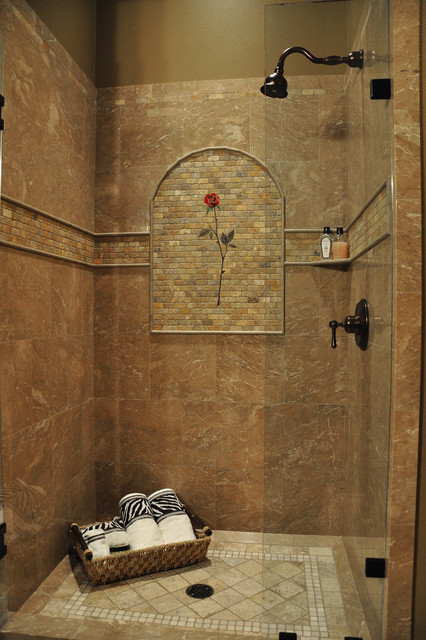 marble shower rose mural - tropical - bathroom - seattle