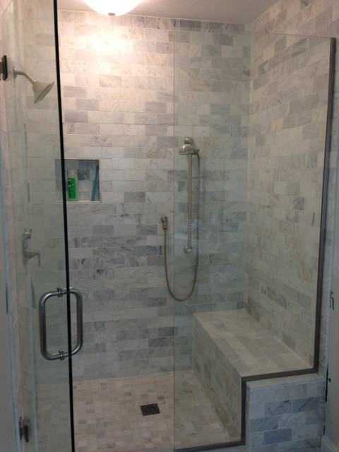 Marble Shower With Custom Bench And Nichestraditional Bathroom Boston
