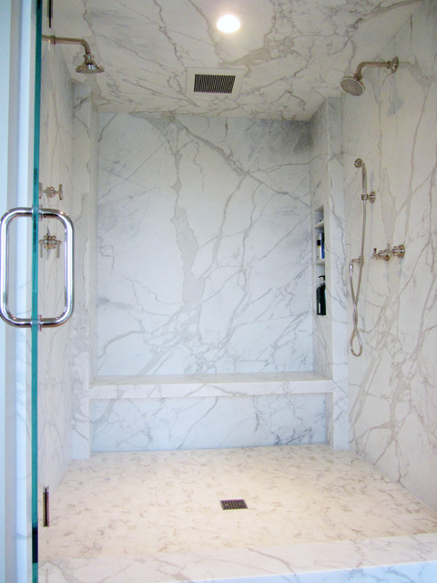 Marble Slab Walk in Shower