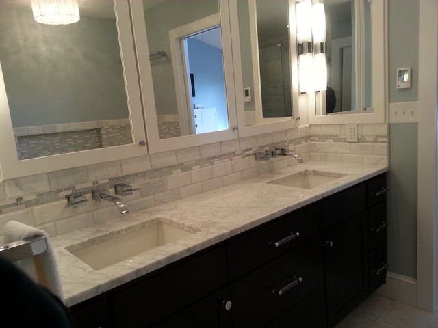 marble soapstone kitchen and bathroom with white flat panel cabinets
