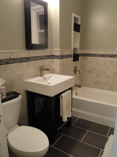Marble Subway Tile Bathroom Contemporary Bathroom New York