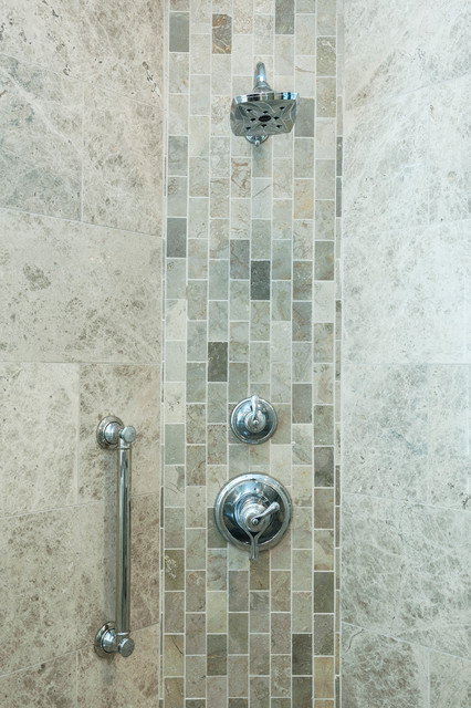 Marble Subway Tile Vertical Accent Band Transitional Bathroom