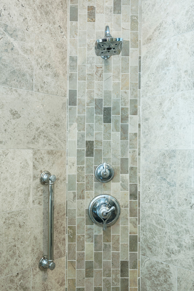 Marble Subway Tile Vertical Accent Band Transitional Bathroom Indianapolis By Case Design Remodeling Of Indianapolis