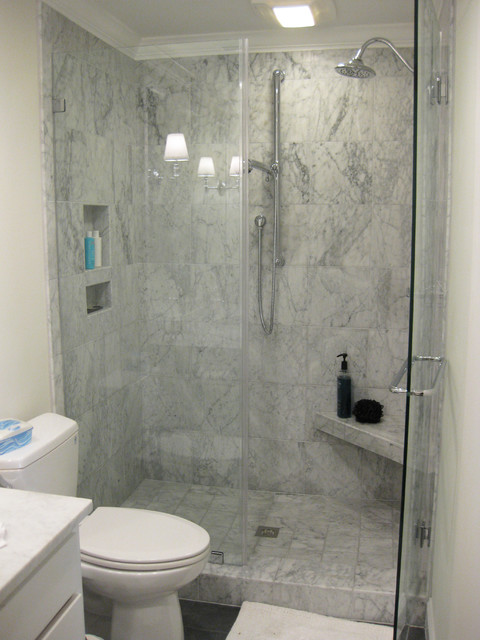 Marble Tile Shower With Slate Floor Traditional